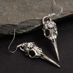Antique Silver Goth Steampunk Crow Earrings NWT